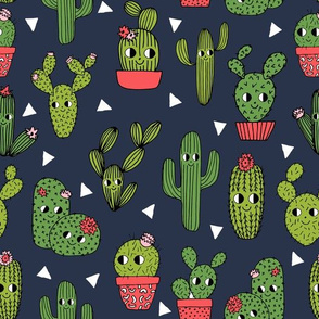 happy cactus // navy blue cacti cactus character cute