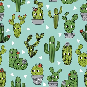 happy cactus // mint cactus cute cacti  cactuses kids cute summer