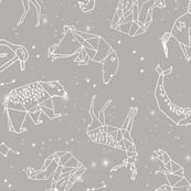 Constellations // geometric animal star nursery light grey