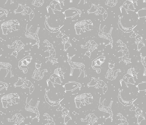 Constellations // geometric animal star nursery light grey fabric by andrea_lauren on Spoonflower - custom fabric