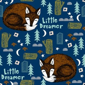 little dreamer // sleeping fox navy blue cute kids camping forest woodland bear cute design