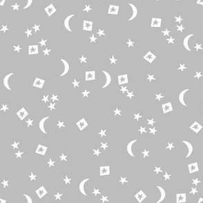 stars and moon // grey dream sleep baby nursery stars night sky