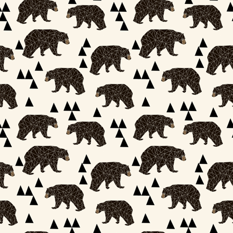 geo bear // small version kids geometric trendy triangle bear  fabric by andrea_lauren on Spoonflower - custom fabric