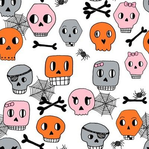 skulls // pink orange halloween spider bones spider webs