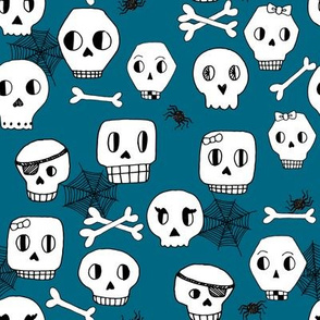skulls // halloween bones spider spiderweb kids blue boys spiders spooky october autumn halloween