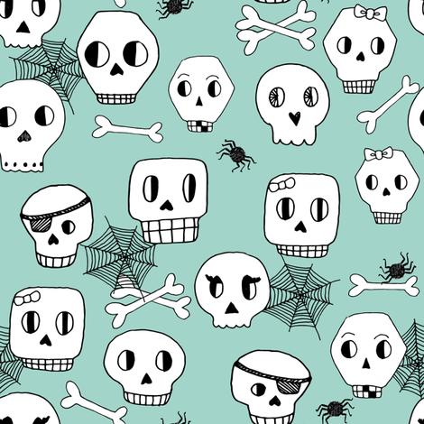 skulls // halloween mint bones spider spiderweb october kids mint skulls  fabric by andrea_lauren on Spoonflower - custom fabric