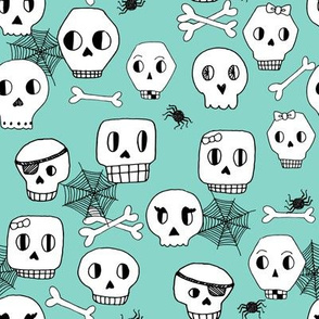 skulls // halloween mint bones spider spiderweb october kids mint skulls