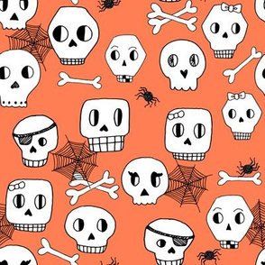 skulls // halloween orange kids bones bone spider spiderwebs kids orange spooky scary