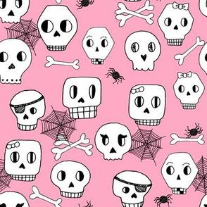 halloween skulls // pink halloween spooky scary kids bones spiders spider web