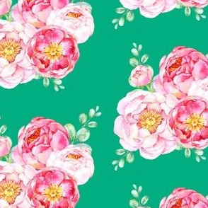 Peonies in Bloom - Green