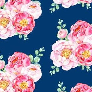 Peonies in Bloom - Dark Blue
