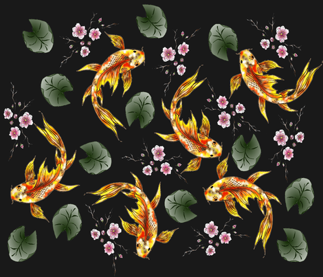 Japanese  Garden Koi and Cherry blossoms fabric by snidgy's_designs on Spoonflower - custom fabric