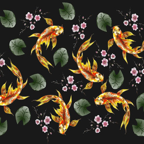 Japanese  Garden Koi and Cherry blossoms