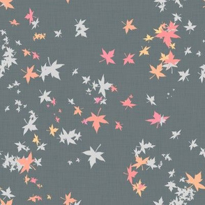 Maple Leaves on Grey Linen