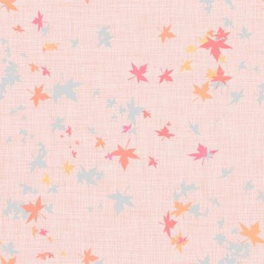 Maple Leaves on Salmon Linen