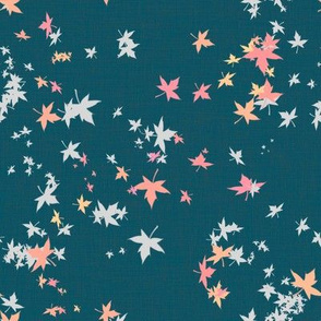 Maple Leaves on Turqoise Linen
