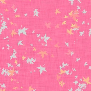 Maple Leaves on Pink Linen