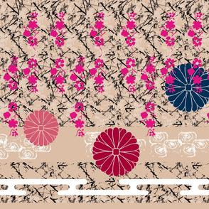 Japanese Garden, pinks/navy