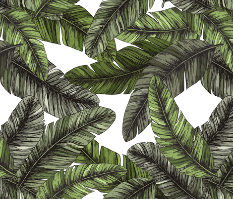 Tropical palm leaves fabric by adehoidar on Spoonflower - custom fabric