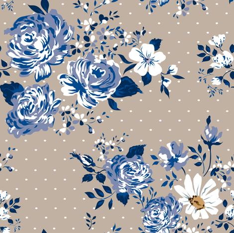 Blue Vintage Roses Pattern Fabric