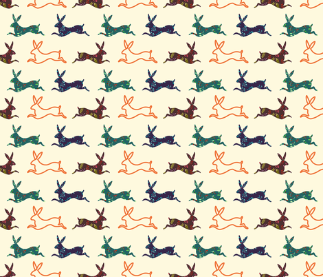 Bunnies fabric by lapinecurieuse on Spoonflower - custom fabric