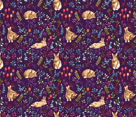 Forest bunnies violet fabric by lapinecurieuse on Spoonflower - custom fabric