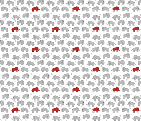 Elephant grey and red kids triangles nursery baby for Grey childrens fabric