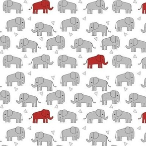 elephant // grey and red kids triangles nursery baby