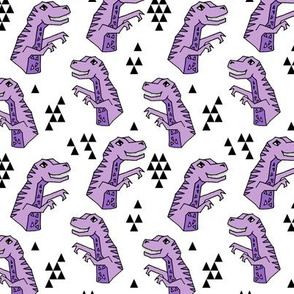 dinosaurs // purple and white dino dinosaurs kids baby purple medium