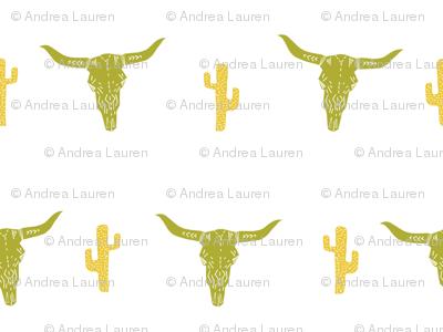 longhorn skull // avocado green and yellow vintage skull