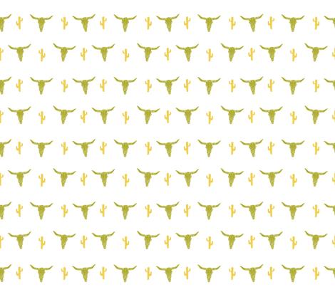longhorn skull // avocado green and yellow vintage skull  fabric by andrea_lauren on Spoonflower - custom fabric