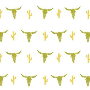longhorn skull // avocado green and yellow vintage skull