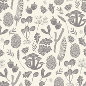 nature walk // grey and cream leaves block print linocut pinecones acorns leaves leaf autumn fall nature outdoors