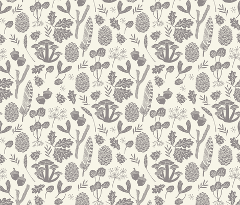 nature walk // grey and cream leaves block print linocut pinecones acorns leaves leaf autumn fall nature outdoors fabric by andrea_lauren on Spoonflower - custom fabric