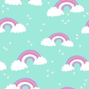 rainbow // bright mint purple pink sweet pastel girly cute rainbows and clouds