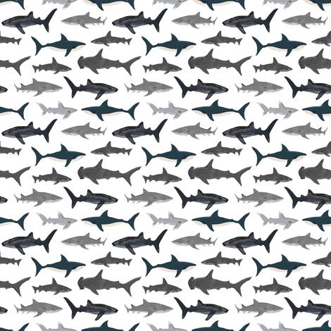sharks // shark white ocean kids boys shark week animals ocean fabric by andrea_lauren on Spoonflower - custom fabric