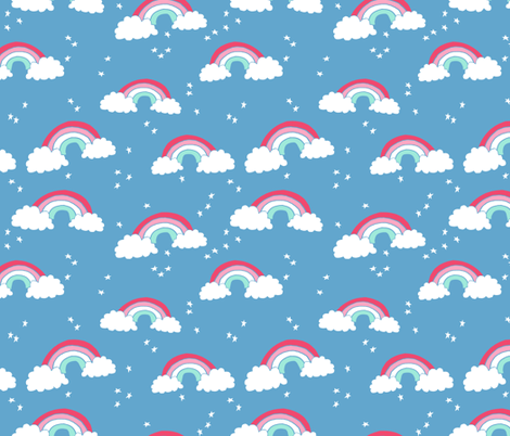 rainbow // rainbows blue sky stars clouds kids cute 90s  fabric by andrea_lauren on Spoonflower - custom fabric
