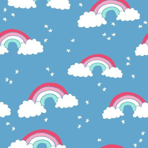 rainbow // rainbows blue sky stars clouds kids cute 90s