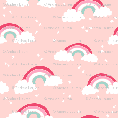 Rainbow Rainbows Pastel Pink Light Pink Girls Stars Sky