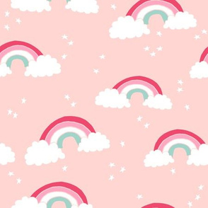 rainbow // rainbows pastel pink light pink girls stars sky cute pastels