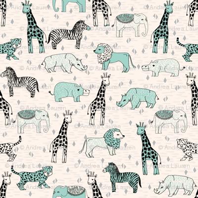 jungle // cream and mint kids grey safari animals jungle giraffe lion rhinos