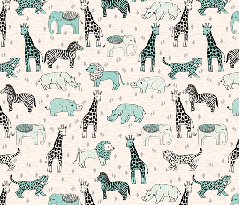 jungle // cream and mint kids grey safari animals jungle giraffe lion rhinos fabric by andrea_lauren on Spoonflower - custom fabric