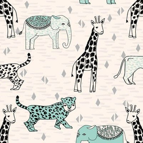 jungle // cream and mint kids grey safari animals jungle giraffe lion rhinos