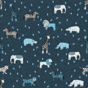 jungle // safari smaller animals dark blue kids animals