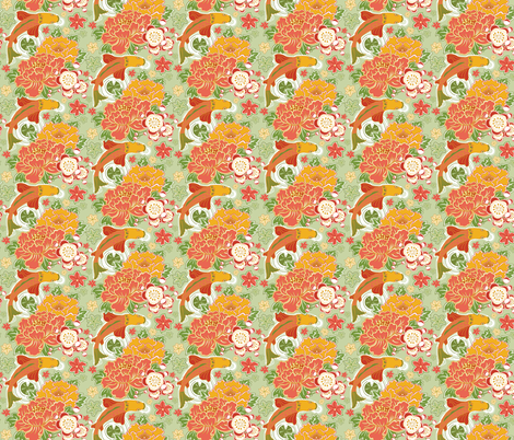 Tranquility 1-coordinate-green background fabric by julistyle on Spoonflower - custom fabric