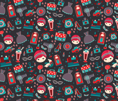 Retro Girl Secondary Color fabric by bybeck on Spoonflower - custom fabric