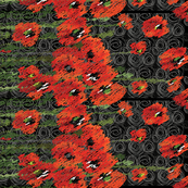 poppy scribble border print