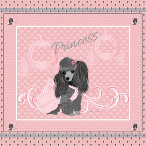 Poodle- Little Grey princess- Cinderella Quilt Panel