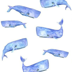 Purple Watercolor Whales