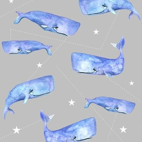 Purple Watercolor Whales on Grey with Stars